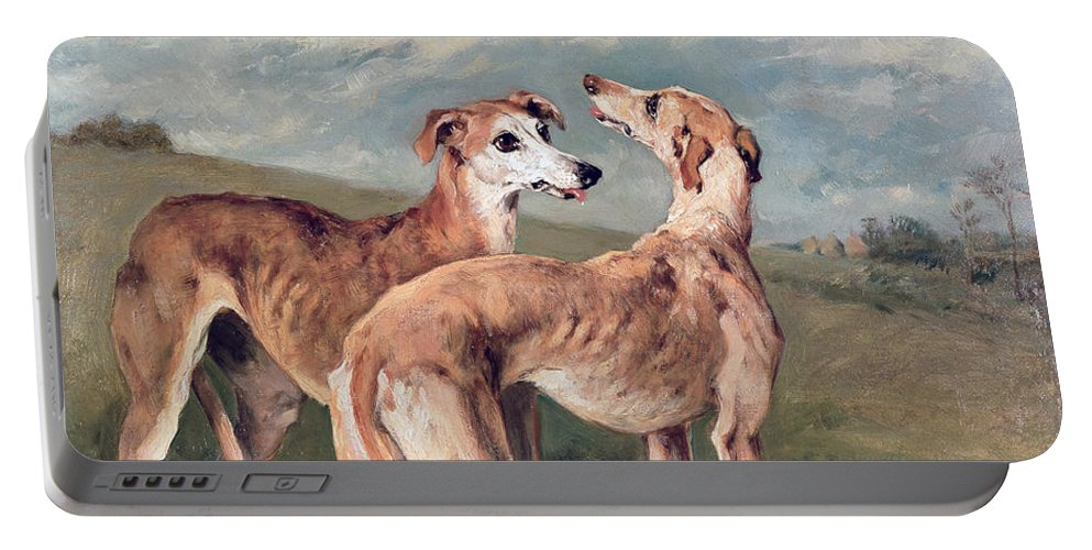 Greyhounds (oil On Canvas) By John Emms (1843-1912) Portable Battery Charger featuring the painting Greyhounds by John Emms
