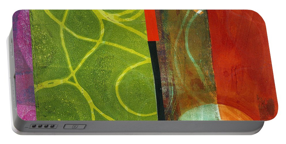Acrylic And Collage Portable Battery Charger featuring the painting Grid Print 13 by Jane Davies