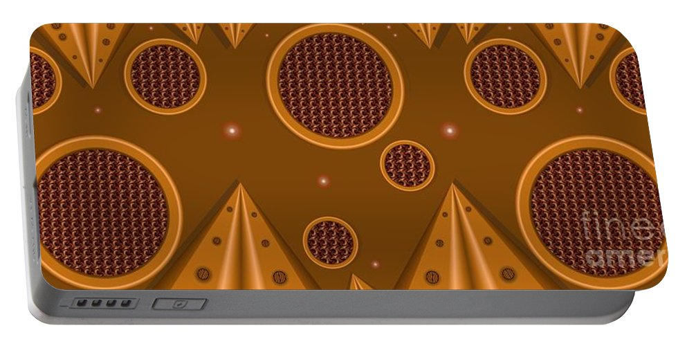 Abstract Portable Battery Charger featuring the digital art Grills by Ron Bissett