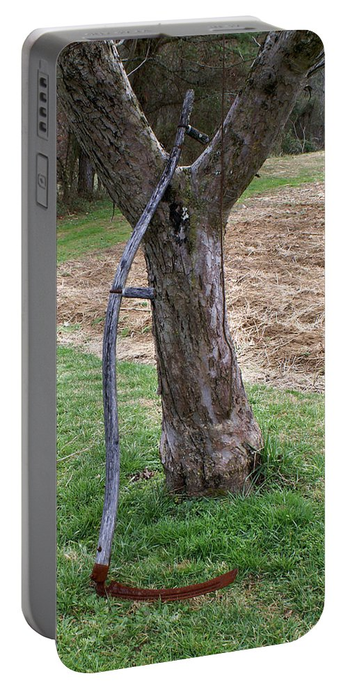Scythe Portable Battery Charger featuring the photograph Grim Reaper At Rest by Douglas Barnett