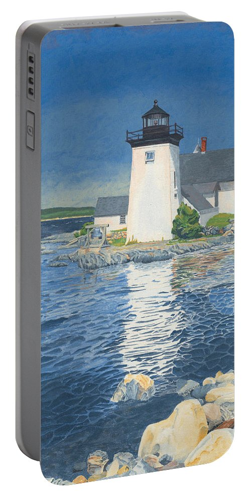 Lighthouse Portable Battery Charger featuring the painting Grindle Point Light by Dominic White