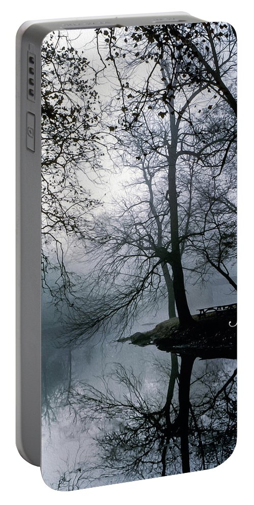 Grings Mill Recreation Area Portable Battery Charger featuring the photograph Grings Mill Fog 1043 by Scott McAllister
