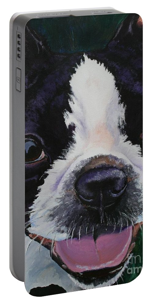 Boston Terrier Portable Battery Charger featuring the painting Grins by Susan Herber