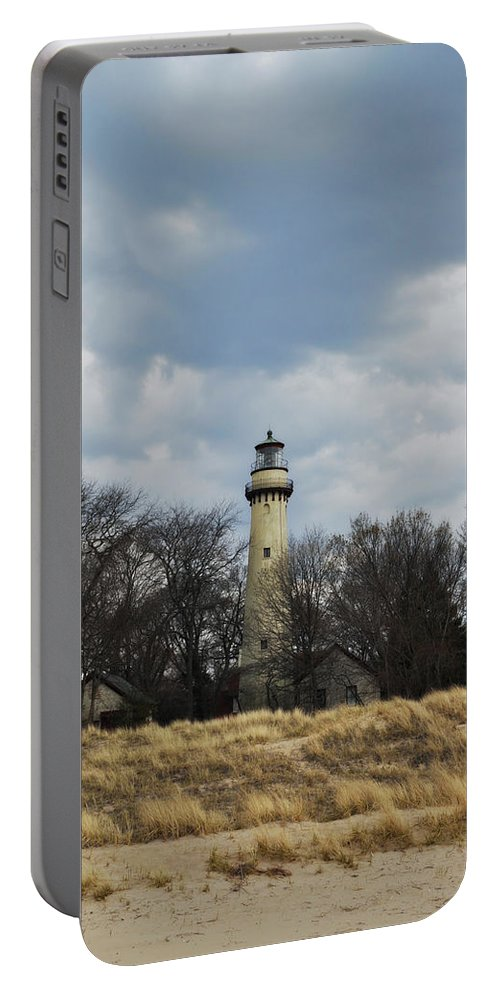Grosse Point Lighthouse Portable Battery Charger featuring the photograph Grosse Point Lighthouse Portrait by Kyle Hanson