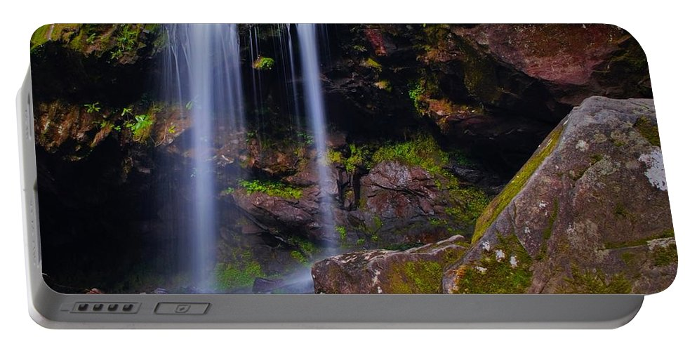 Waterfall Portable Battery Charger featuring the photograph Grotto Falls by Dennis Nelson