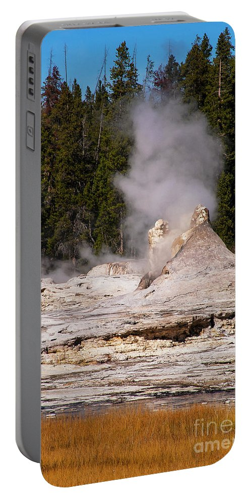 Yellowstone National Park Portable Battery Charger featuring the photograph Grotto Geyser Eruption Two by Bob Phillips