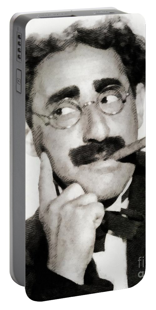 Groucho Portable Battery Charger featuring the painting Groucho Marx, Vintage Comedy Actor by John Springfield