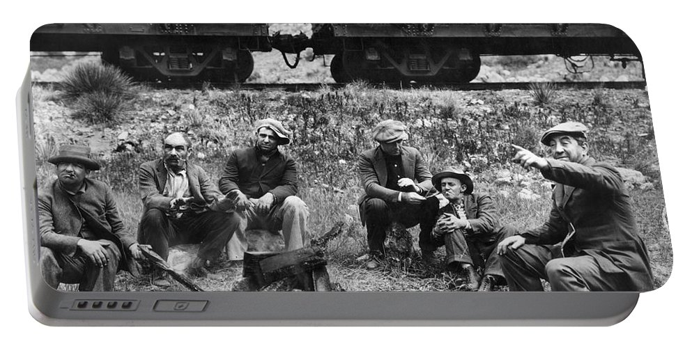 1920s Portable Battery Charger featuring the photograph Group Of Hoboes, 1920s by Granger