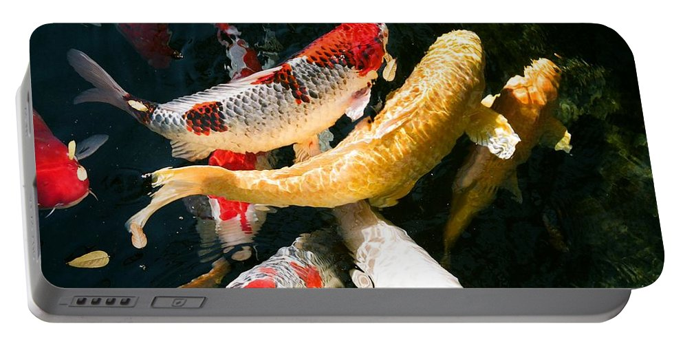 Fish Portable Battery Charger featuring the photograph Group Of Koi Fish by Dean Triolo