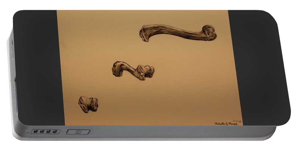 Bone Portable Battery Charger featuring the drawing Growing Bone by Michelle Miron-Rebbe