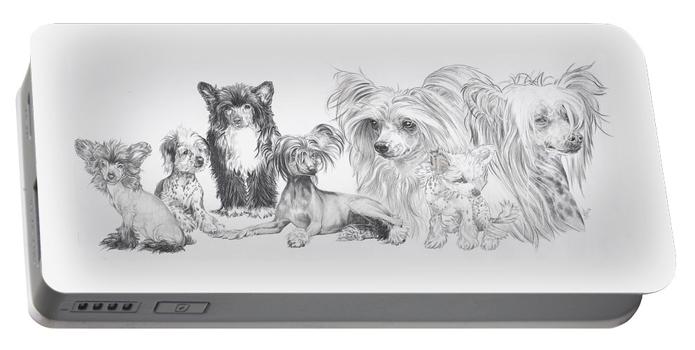 Toy Group Portable Battery Charger featuring the drawing Growing Up Chinese Crested And Powderpuff by Barbara Keith