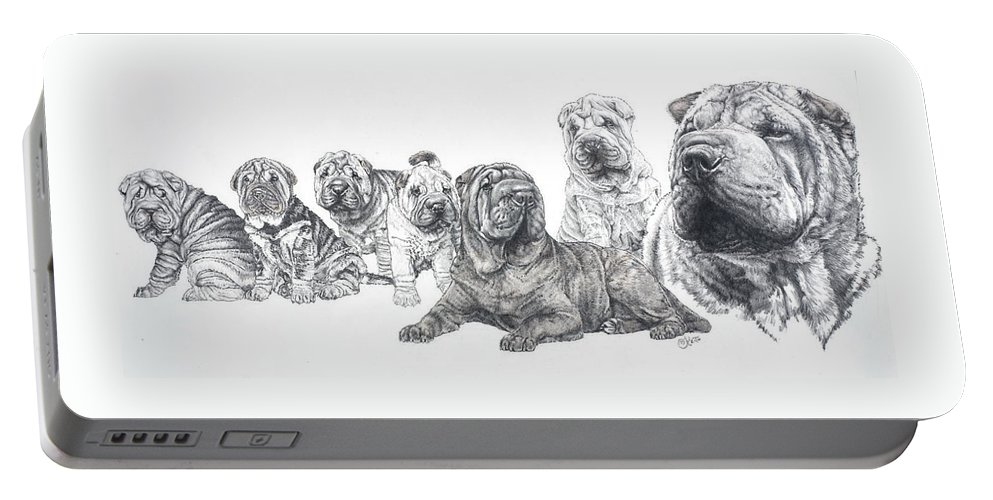 Non-sporting Group Portable Battery Charger featuring the drawing Growing Up Chinese Shar-pei by Barbara Keith