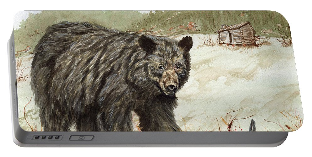 Bear Portable Battery Charger featuring the painting Grubbing by Carol Moore