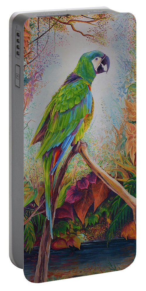 Landscape Guacamayo Birds Portable Battery Charger featuring the painting Guacamayo by Fabian Tacuri