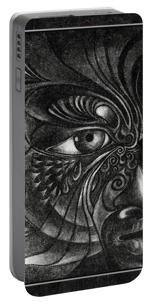 Mezzotint Portable Battery Charger featuring the drawing Guardian Cherub by Otto Rapp