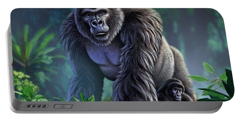 Gorilla Portable Battery Charger featuring the painting Guardian by Jerry LoFaro