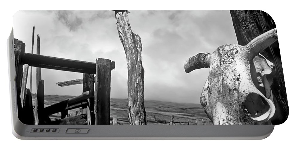 Black And White Portable Battery Charger featuring the photograph Guardian Spirit by Jim Cazel