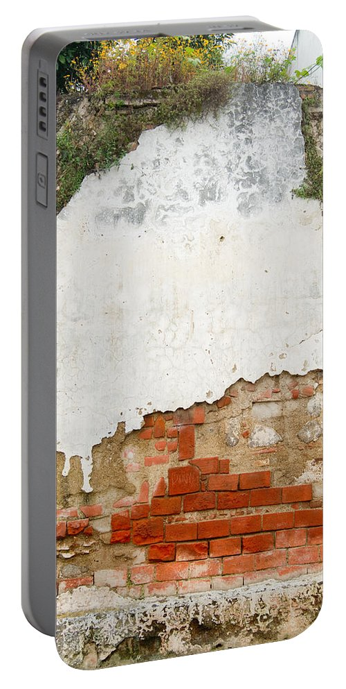 Guatemala Portable Battery Charger featuring the photograph Guatemalan Ancient Wall Antigua by Douglas Barnett