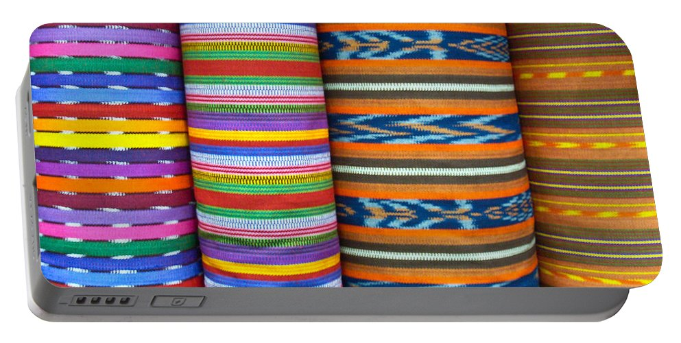 Guatemalan Portable Battery Charger featuring the photograph Guatemalan Woven Fabric by Douglas Barnett