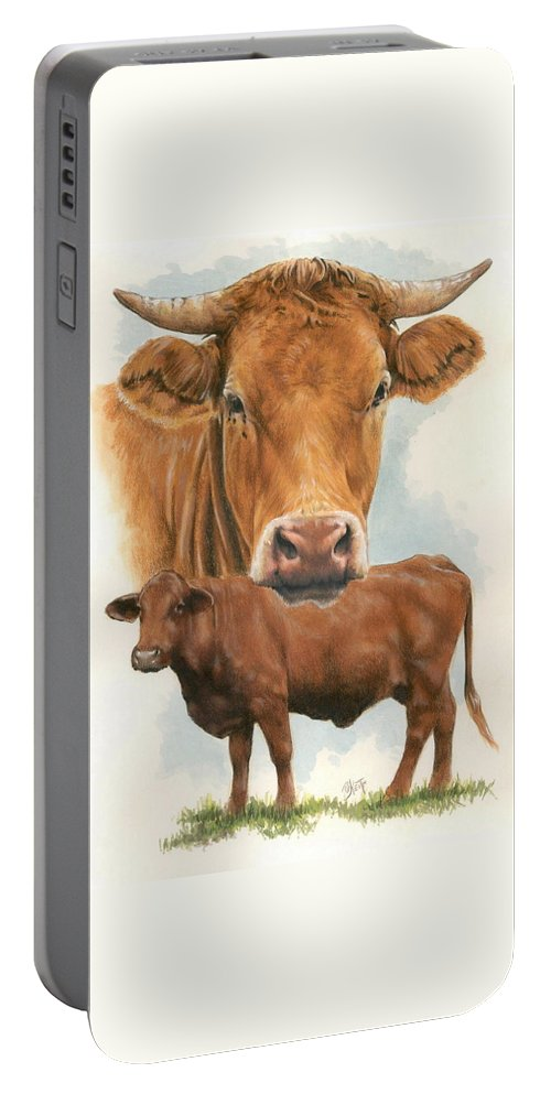 Cow Portable Battery Charger featuring the mixed media Guernsey by Barbara Keith