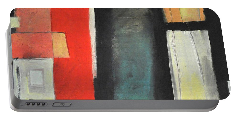 Red Portable Battery Charger featuring the painting Guess Whos Coming To Dinner by Tim Nyberg