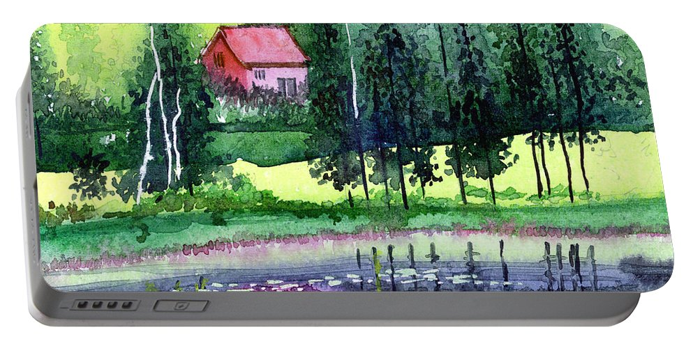 Landscape Portable Battery Charger featuring the painting Guest House by Anil Nene