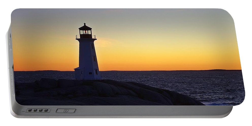 Lighthouse Portable Battery Charger featuring the photograph Peggy's Cove Lighthouse by Heather Vopni
