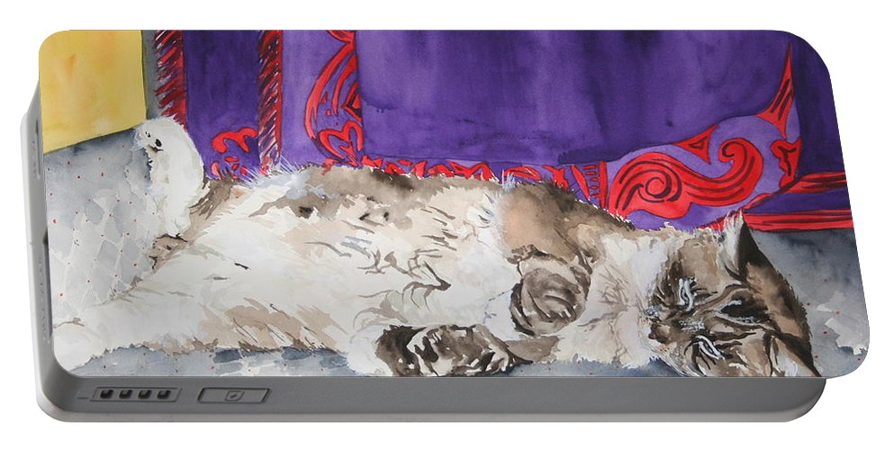 Cat Portable Battery Charger featuring the painting Guilley by Jean Blackmer