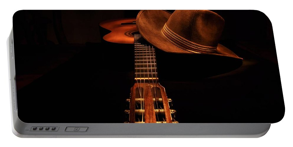 Guitar Portable Battery Charger featuring the photograph Guitar And Hat by FL collection