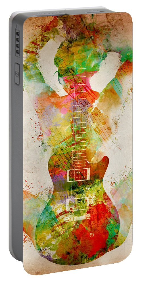 Guitar Portable Battery Charger featuring the digital art Guitar Siren by Nikki Smith
