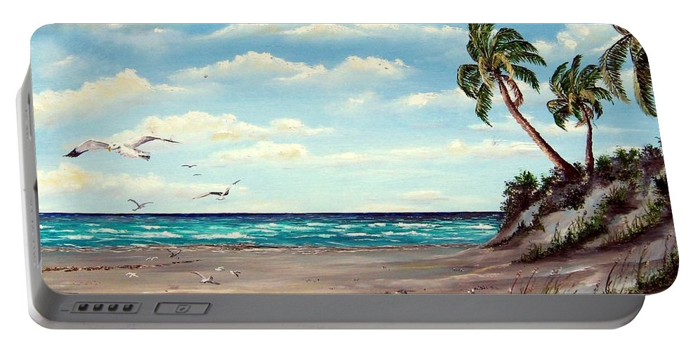 Art Portable Battery Charger featuring the painting Gulf Dunes by Riley Geddings