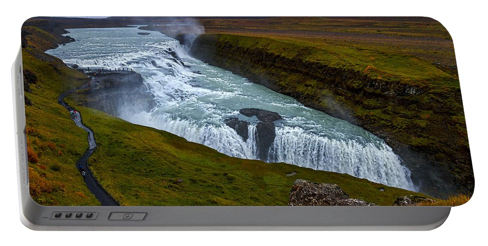 Iceland Portable Battery Charger featuring the photograph Gullfoss Waterfall #2 - Iceland by Stuart Litoff