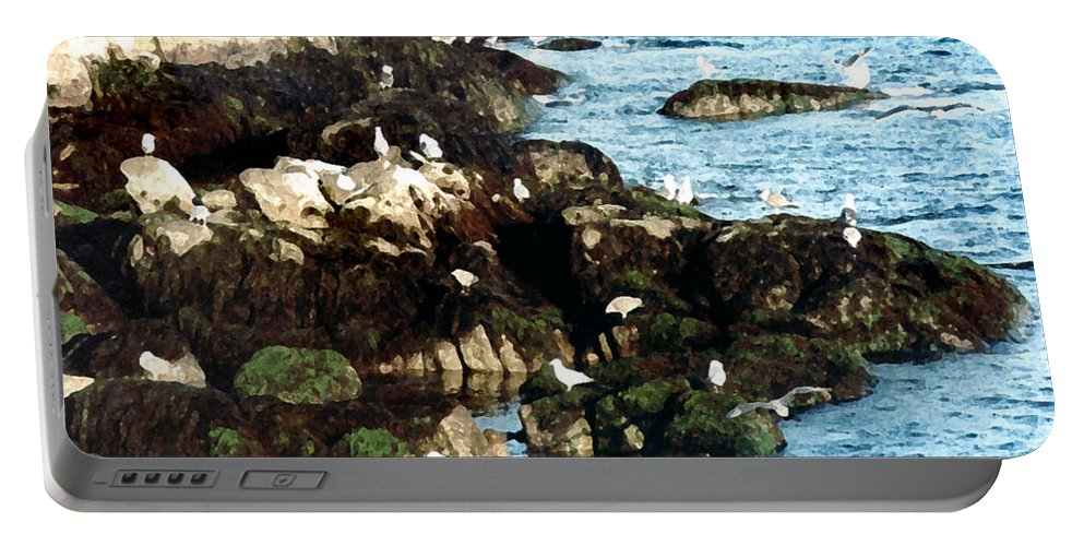 Seagulls Portable Battery Charger featuring the painting Gulls On Rocks by Paul Sachtleben