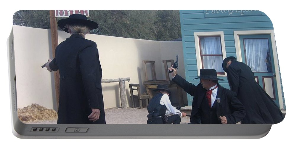 Gunfight Re-enactment O.k. Corral Tombstone Arizona 2004 Portable Battery Charger featuring the photograph Gunfight Re-enactment O.k. Corral Tombstone Arizona 2004 by David Lee Guss