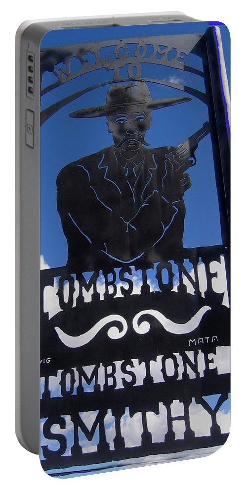 Gunfighter In Metal Welcome Sign 1 Allen Street Tombstone Arizona 2004 Portable Battery Charger featuring the photograph Gunfighter In Metal Welcome Sign 1 Allen Street Tombstone Arizona 2004 by David Lee Guss