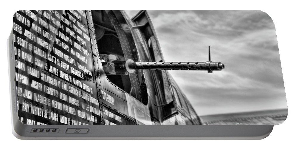 Wwii Portable Battery Charger featuring the photograph Gunner Window Blackwhite by Chuck Kuhn