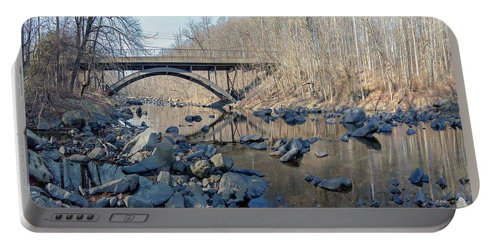 2d Portable Battery Charger featuring the photograph Gunpowder Falls St Pk Bridge - Pano by Brian Wallace
