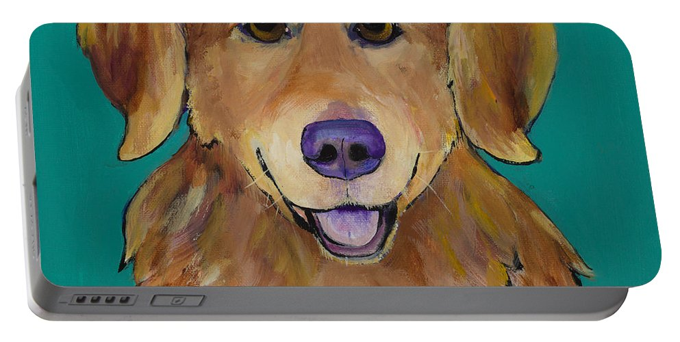 Golden Retriever Portable Battery Charger featuring the painting Guthrie by Pat Saunders-White