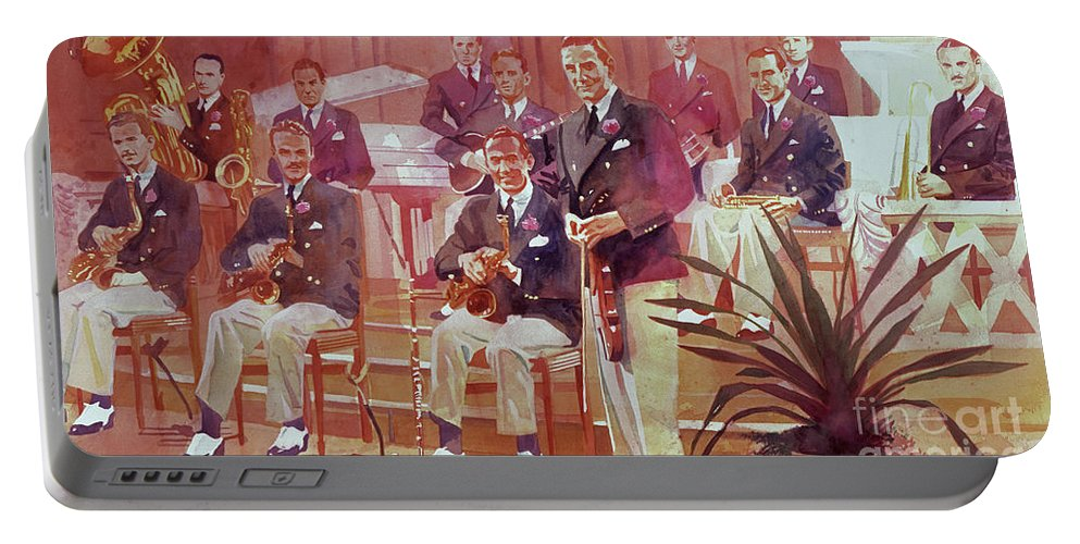 Big Band Portable Battery Charger featuring the painting Guy Lombardo The Royal Canadians by David Lloyd Glover