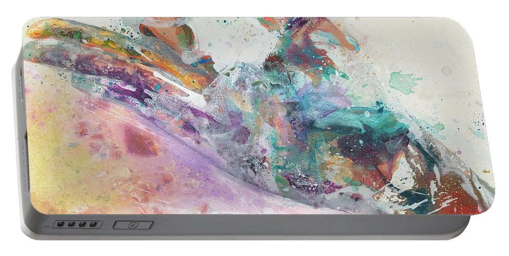 Hand Art Portable Battery Charger featuring the painting Gyan by Kasha Ritter
