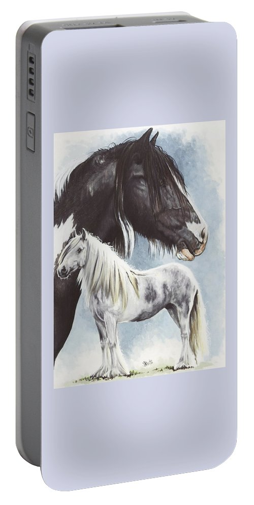 Equine Portable Battery Charger featuring the mixed media Gypsy Cob by Barbara Keith