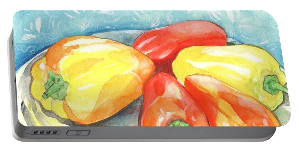 Gypsy Pepper Portable Battery Charger featuring the painting Gypsy Peppers by Helena Tiainen