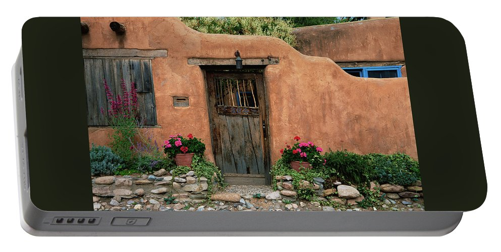Southwest Portable Battery Charger featuring the photograph Hacienda Santa Fe by Jim Benest