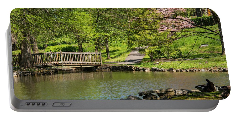 Hagerstown Maryland Lake Lakes Water Landscape Landscapes Bridge Bridges Tree Trees Bloom Blooms Nature City Park Parks Portable Battery Charger featuring the photograph Hagerstown City Park by Bob Phillips