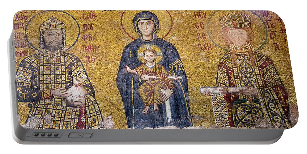 Asia Portable Battery Charger featuring the photograph Hagia Sophia Mosaic by Emily M Wilson