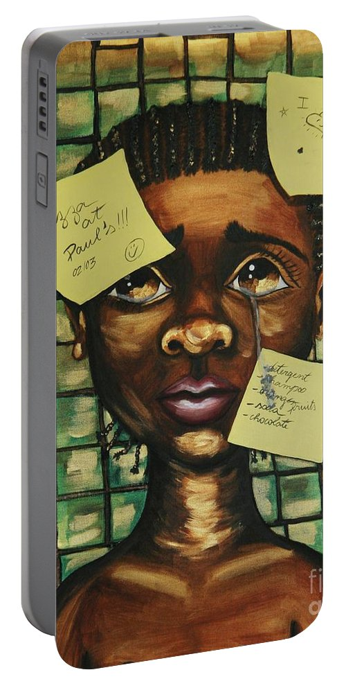 Child Portable Battery Charger featuring the painting Haiti 2010 by Cris Motta