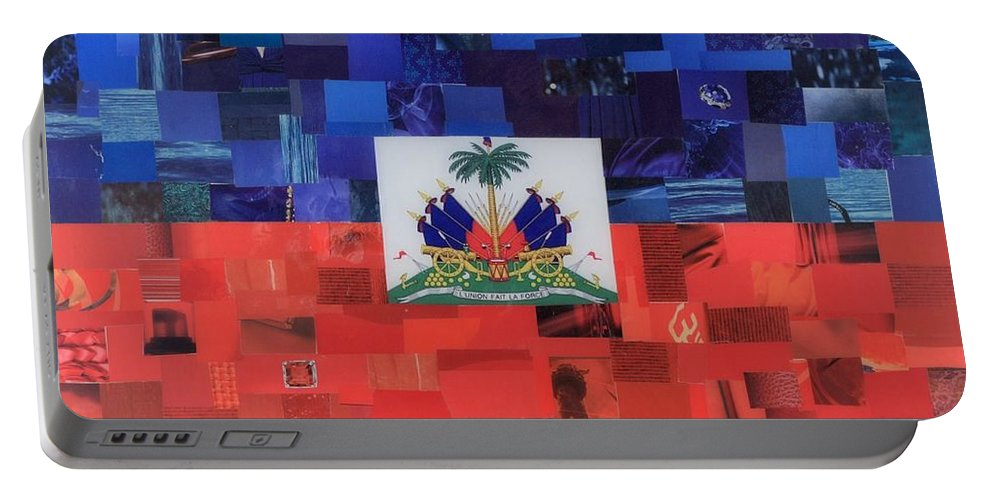 Haiti Flag Portable Battery Charger featuring the mixed media Haiti Flag by Claudia Di Paolo