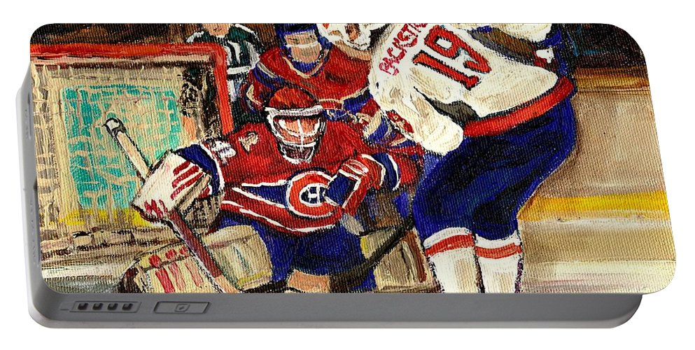Halak Blocks Backstrom In Stanley Cup Playoffs 2010 Portable Battery Charger featuring the painting Halak Blocks Backstrom In Stanley Cup Playoffs 2010 by Carole Spandau
