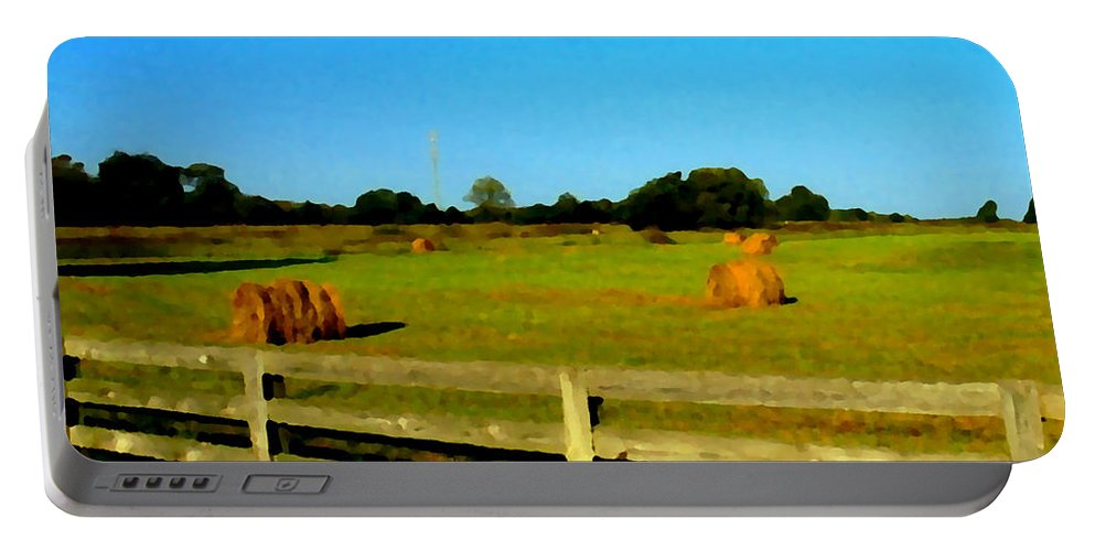 Hay Portable Battery Charger featuring the photograph Hale Bales In Late Summer by Michael Potts