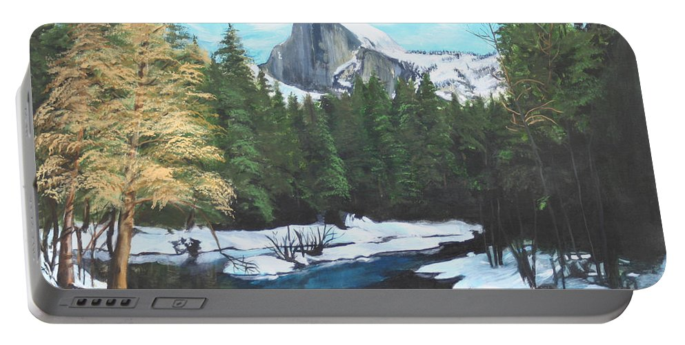 Lkandscape Portable Battery Charger featuring the painting Half Dome Snow by Travis Day